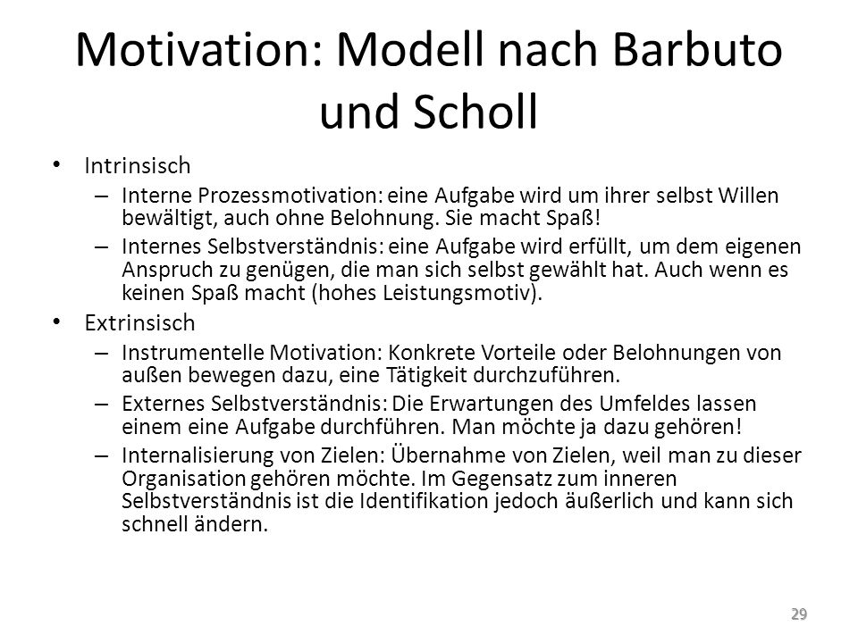 Motivation: Modell nach Barbuto und Scholl