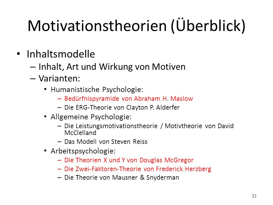 Motivationstheorien (Überblick)