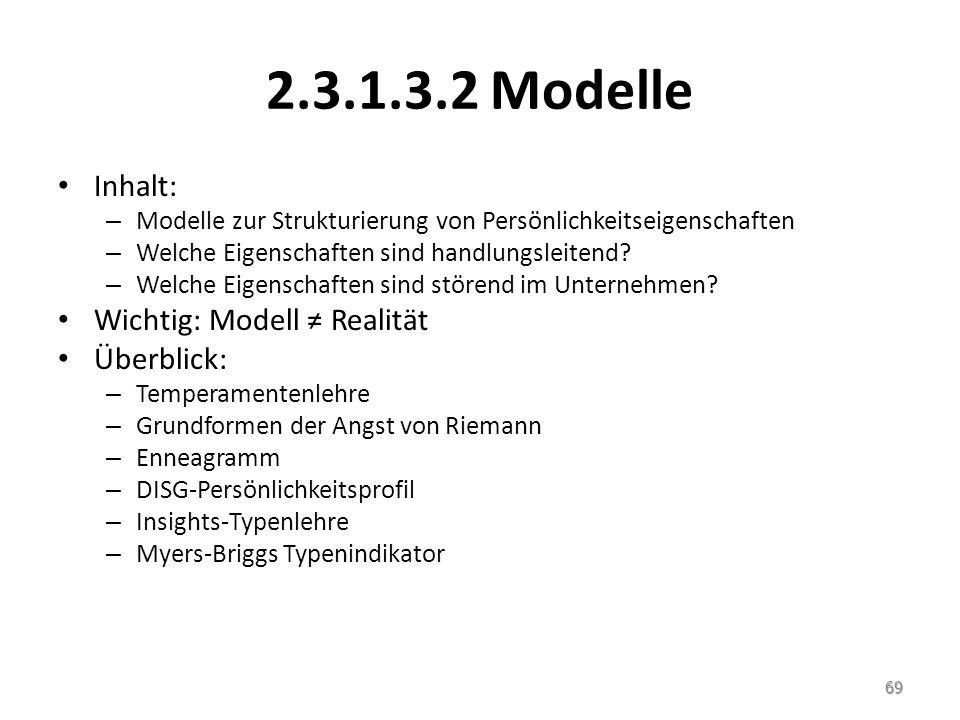2.3.1.3.2 Modelle Inhalt: Wichtig: Modell ≠ Realität Überblick: