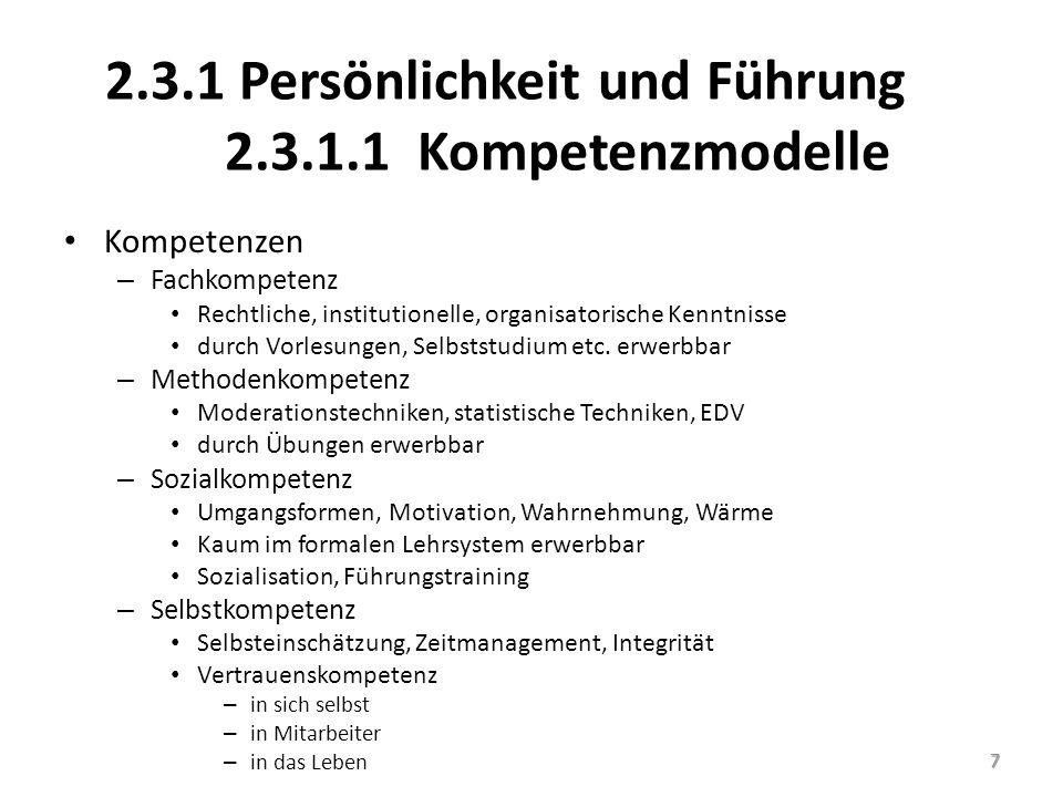 2.3.1 Persönlichkeit und Führung 2.3.1.1 Kompetenzmodelle