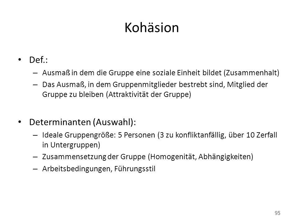 Kohäsion Def.: Determinanten (Auswahl):