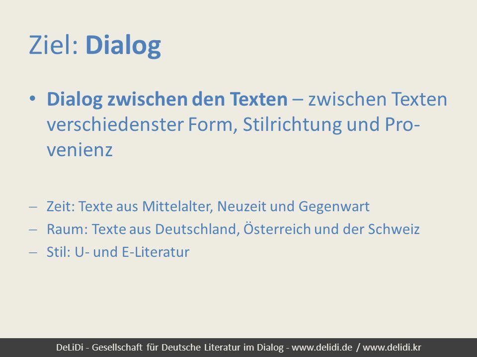 Ziel: Dialog Dialog zwischen den Texten – zwischen Texten verschiedenster Form, Stilrichtung und Pro-venienz.