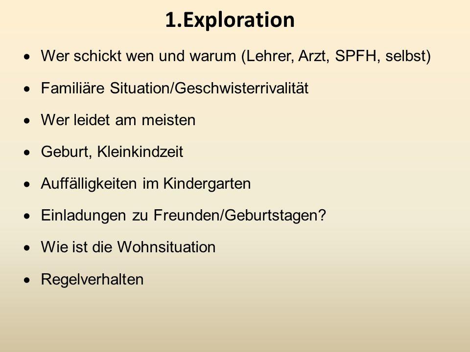 1.Exploration Wer schickt wen und warum (Lehrer, Arzt, SPFH, selbst)