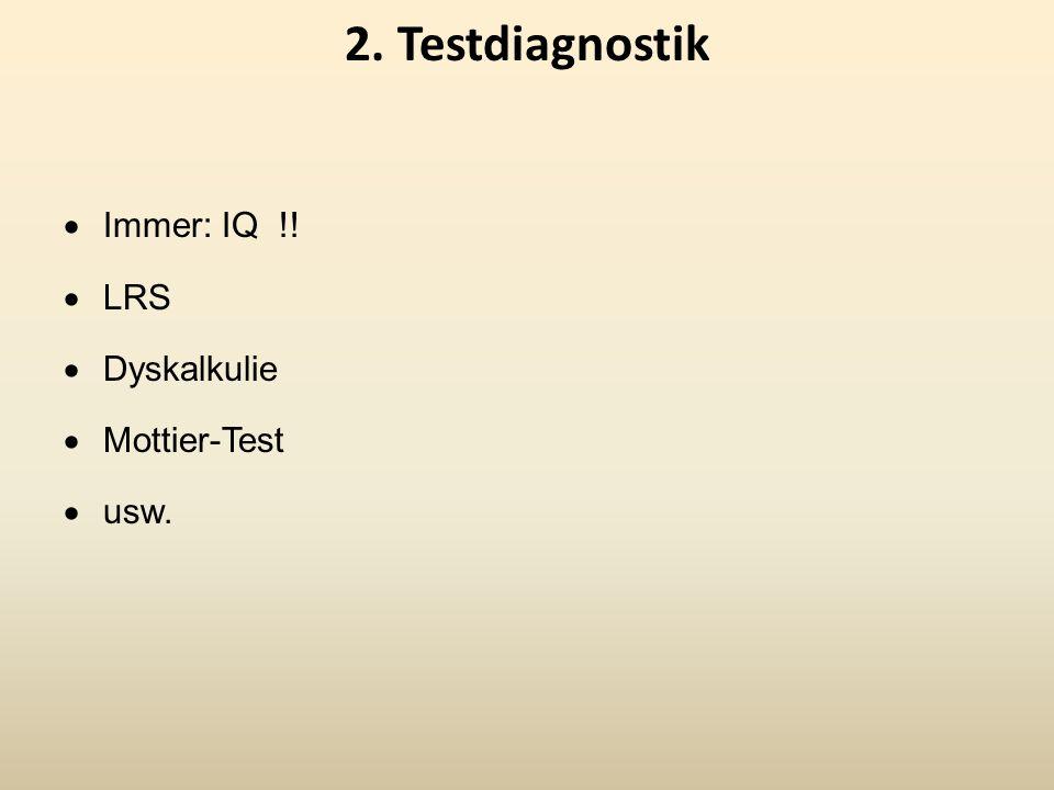 2. Testdiagnostik Immer: IQ !! LRS Dyskalkulie Mottier-Test usw.