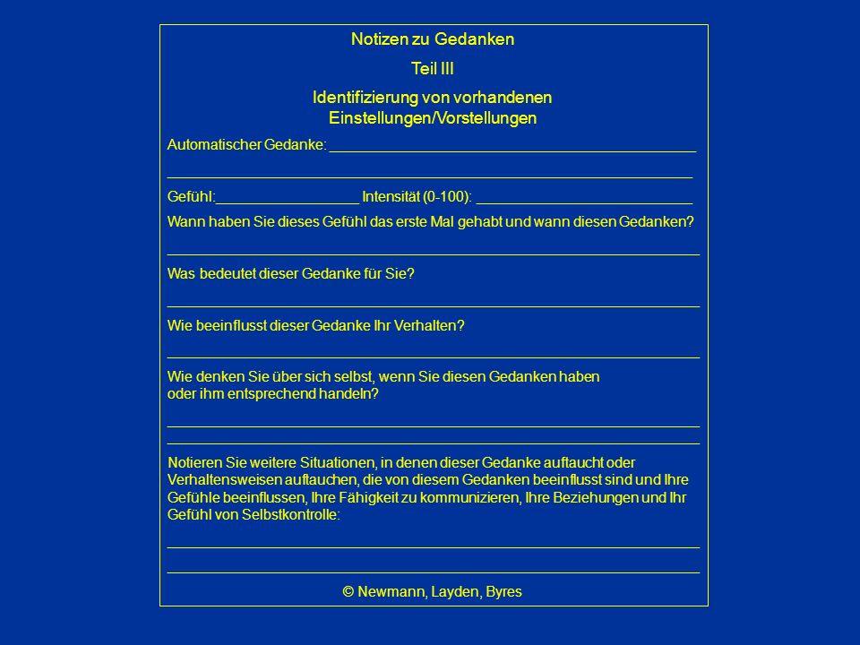 Identifizierung von vorhandenen Einstellungen/Vorstellungen
