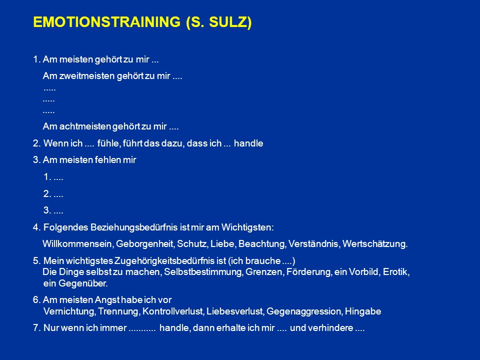 EMOTIONSTRAINING (S. SULZ)