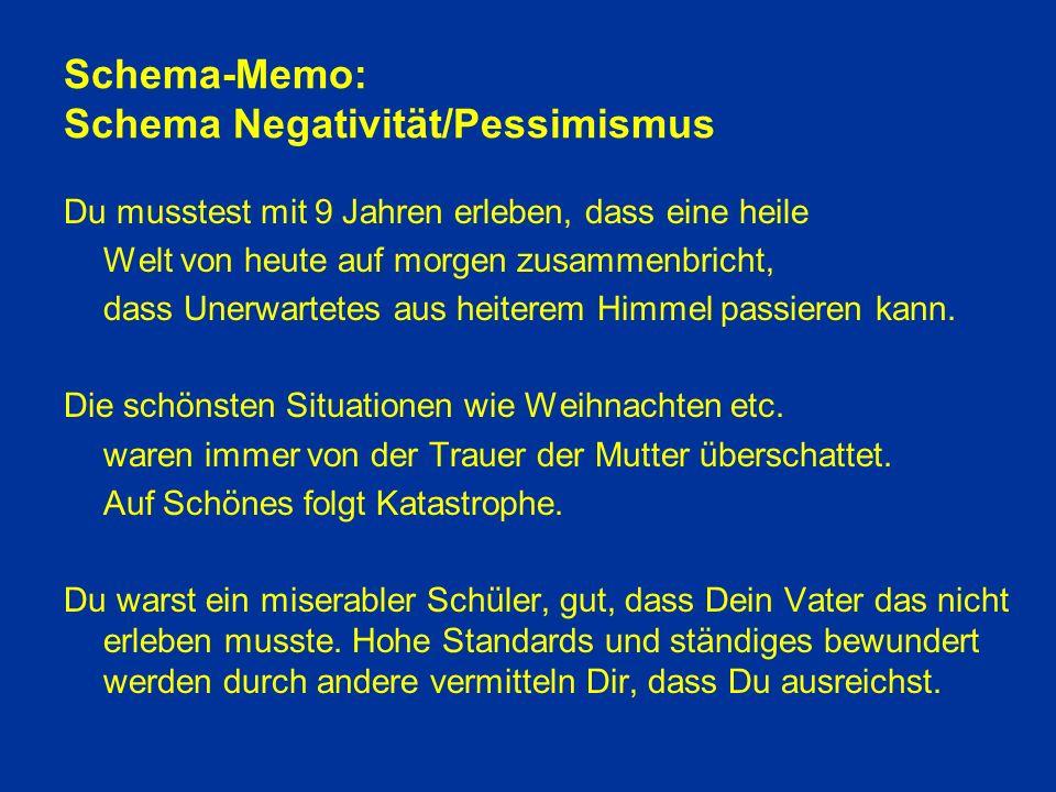 Schema-Memo: Schema Negativität/Pessimismus