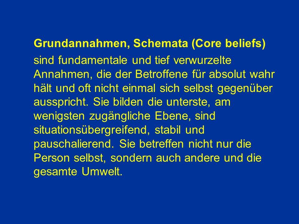 Grundannahmen, Schemata (Core beliefs)