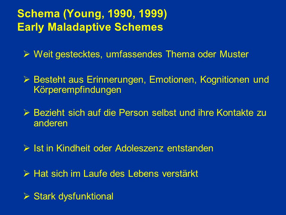 Schema (Young, 1990, 1999) Early Maladaptive Schemes