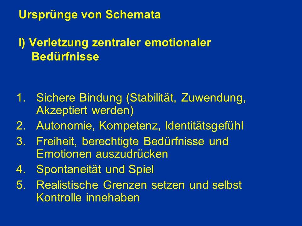 Ursprünge von Schemata I) Verletzung zentraler emotionaler Bedürfnisse
