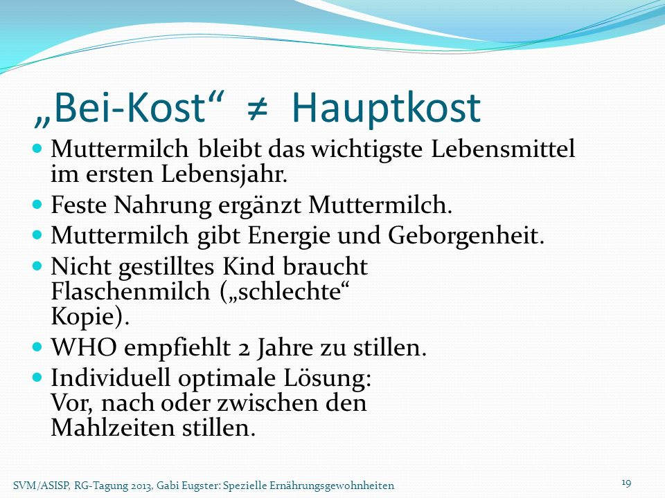 """Bei-Kost ≠ Hauptkost"