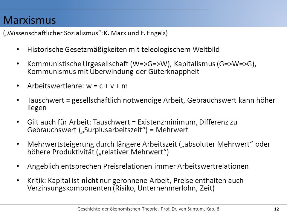 Geschichte der ökonomischen Theorie, Prof. Dr. van Suntum, Kap. 6
