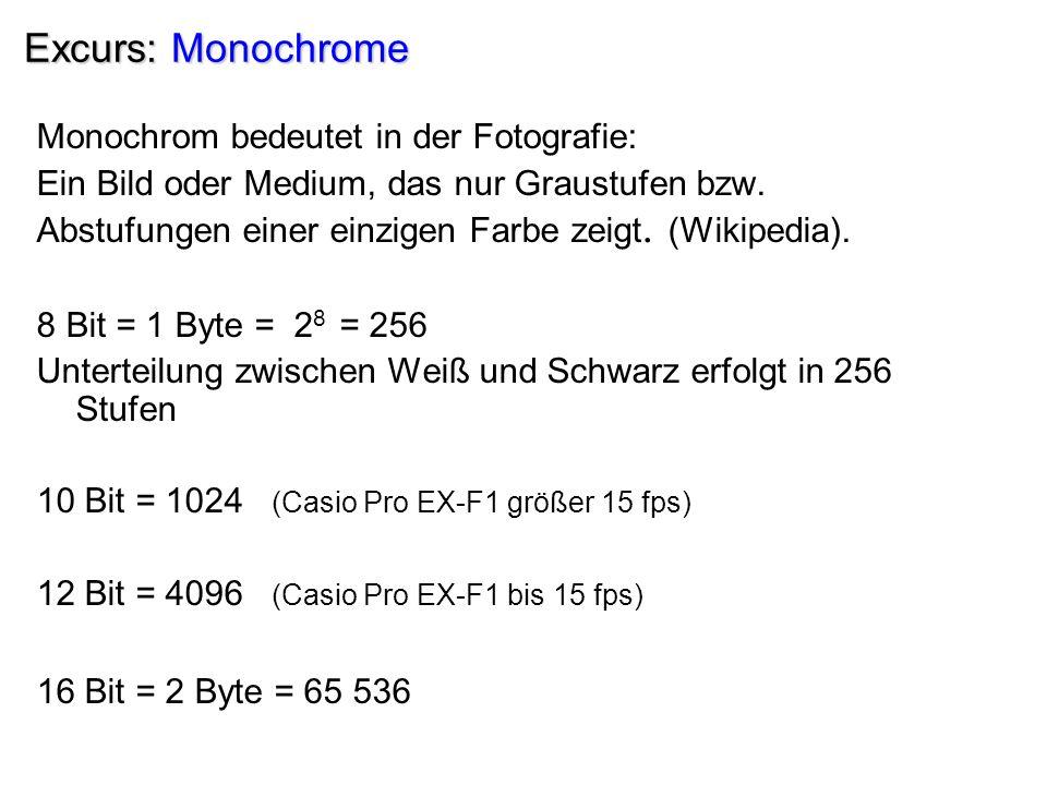 Excurs: Monochrome Monochrom bedeutet in der Fotografie: