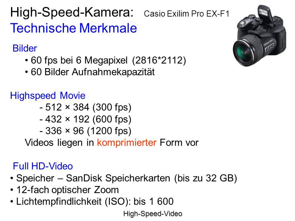 High-Speed-Kamera: Casio Exilim Pro EX-F1 Technische Merkmale