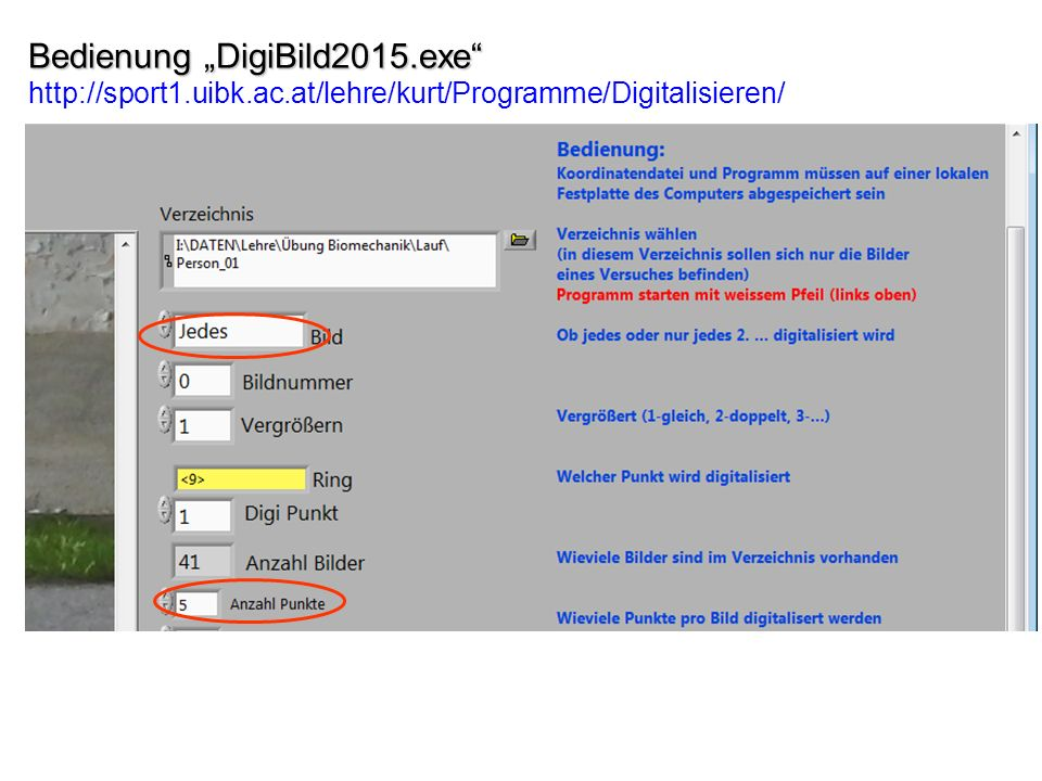 "Bedienung ""DigiBild2015. exe http://sport1. uibk. ac"