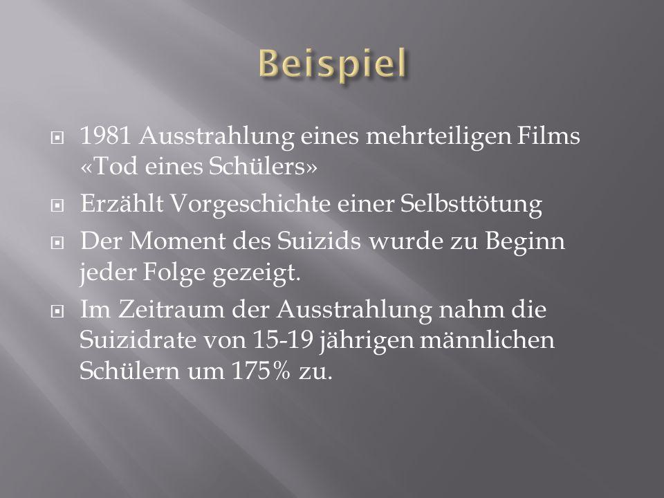 Beispiel 1981 Ausstrahlung eines mehrteiligen Films «Tod eines Schülers» Erzählt Vorgeschichte einer Selbsttötung.