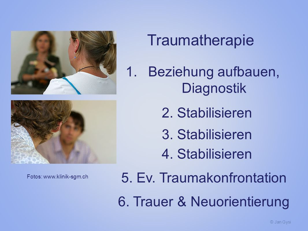 Traumatherapie Beziehung aufbauen, Diagnostik 2. Stabilisieren