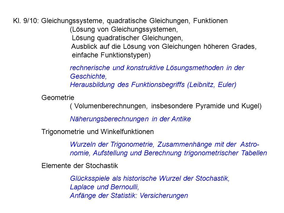 Kl. 9/10: Gleichungssysteme, quadratische Gleichungen, Funktionen