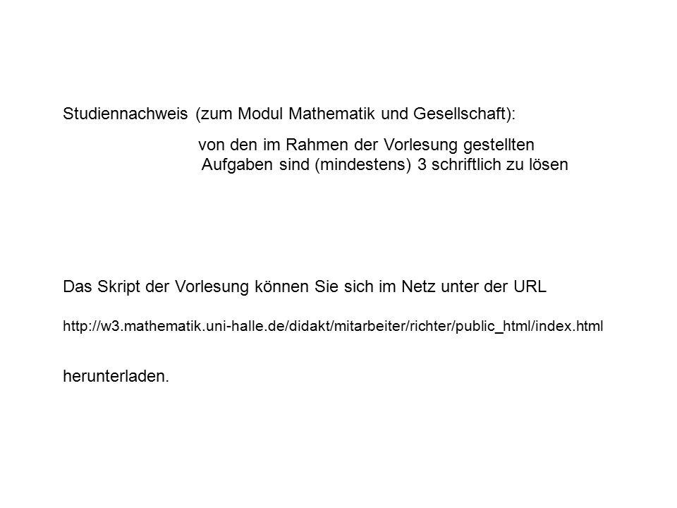 Studiennachweis (zum Modul Mathematik und Gesellschaft):