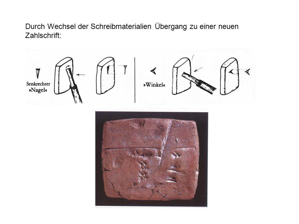Durch Wechsel der Schreibmaterialien Übergang zu einer neuen Zahlschrift: