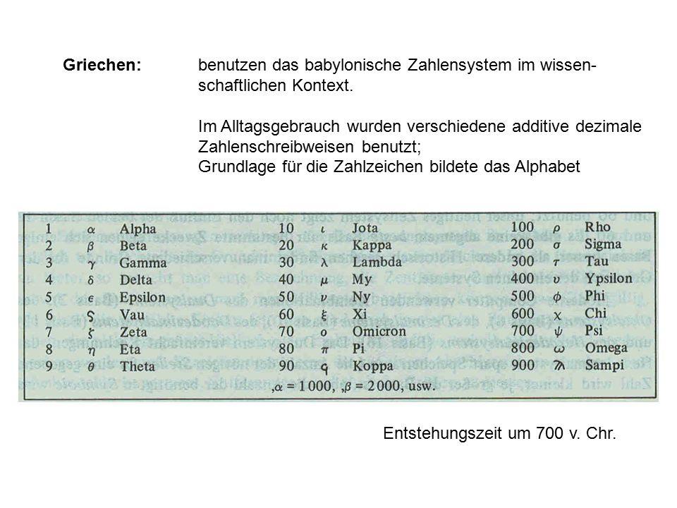 Griechen:. benutzen das babylonische Zahlensystem im wissen-