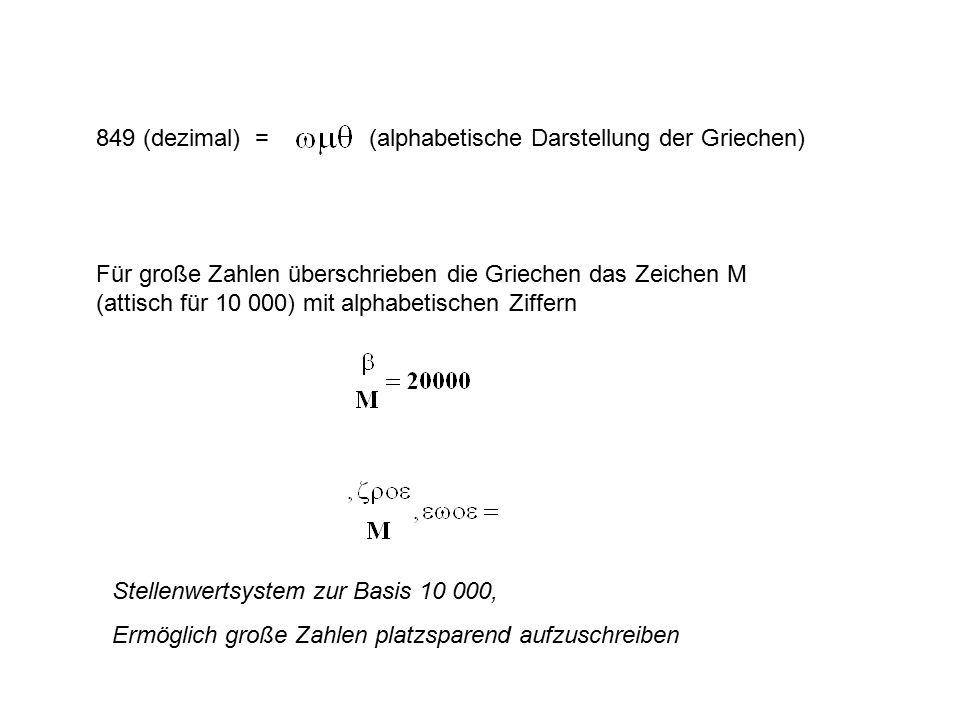 849 (dezimal) = (alphabetische Darstellung der Griechen)