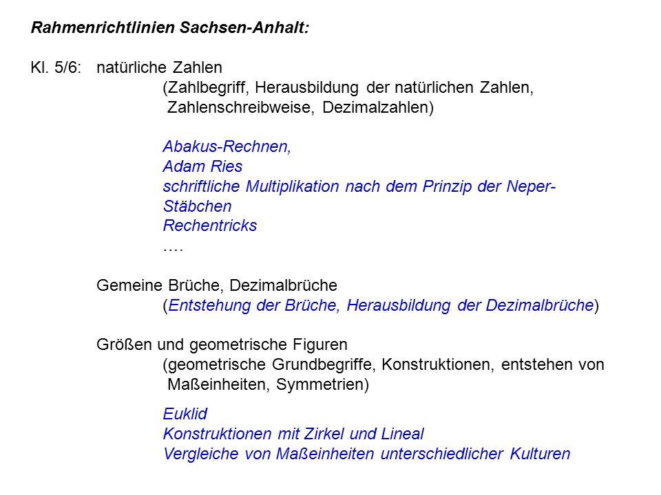 Rahmenrichtlinien Sachsen-Anhalt: Kl. 5/6:. natürliche Zahlen