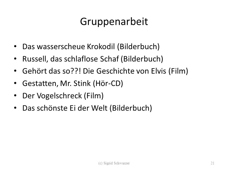 Gruppenarbeit Das wasserscheue Krokodil (Bilderbuch)