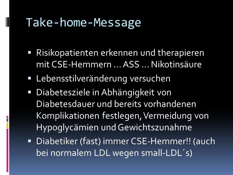 Take-home-Message Risikopatienten erkennen und therapieren mit CSE-Hemmern ... ASS ... Nikotinsäure.