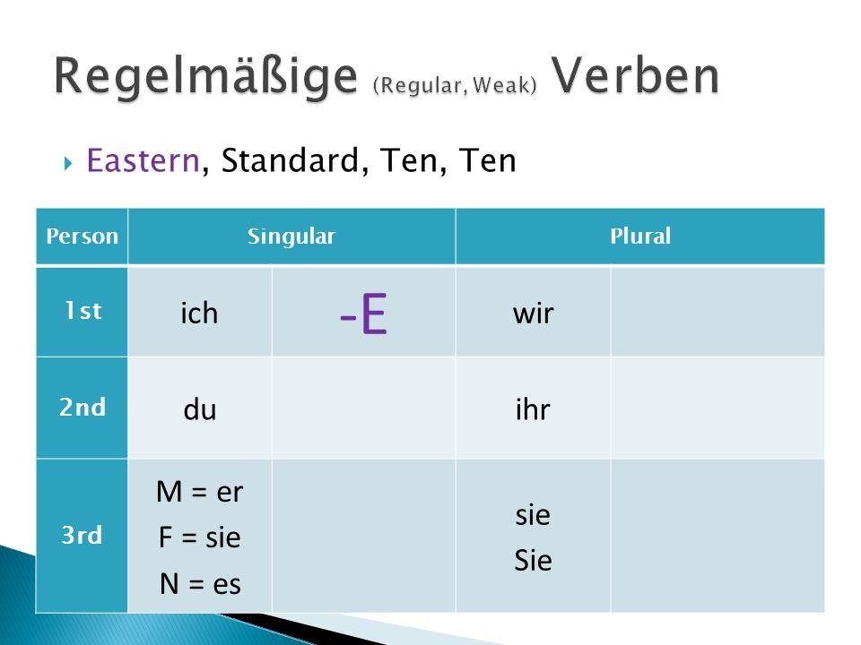 Regelmäßige (Regular, Weak) Verben