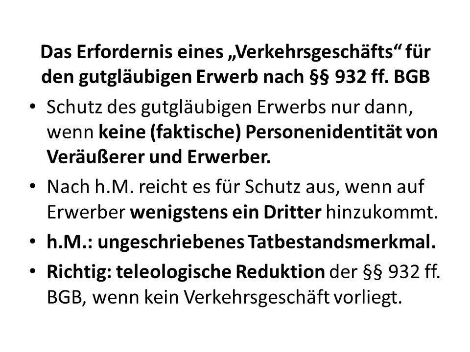 """Das Erfordernis eines """"Verkehrsgeschäfts für den gutgläubigen Erwerb nach §§ 932 ff. BGB"""