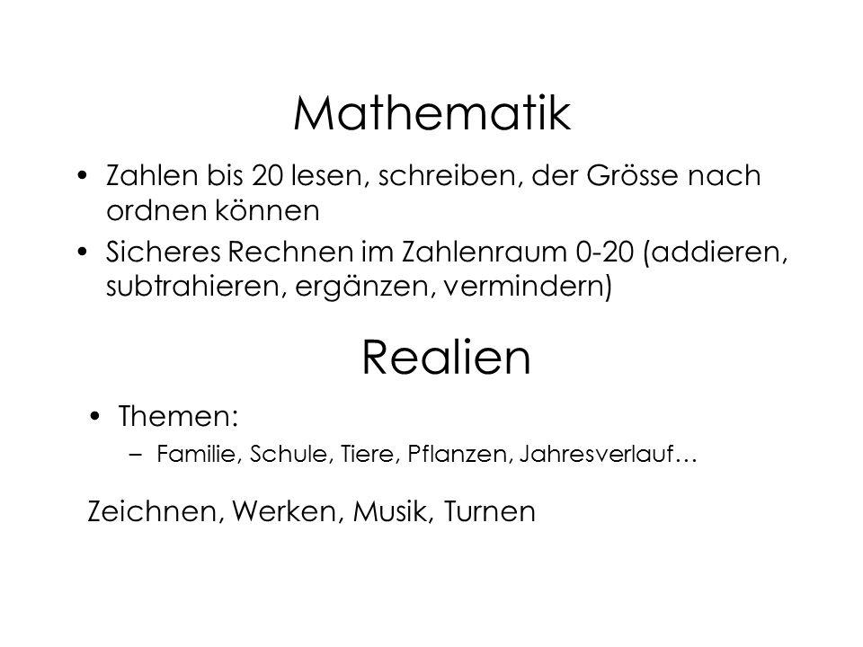 Mathematik Zahlen bis 20 lesen, schreiben, der Grösse nach ordnen können.