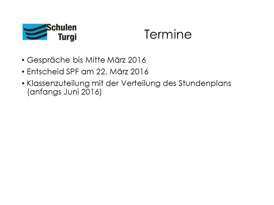 Termine Gespräche bis Mitte März 2016 Entscheid SPF am 22. März 2016