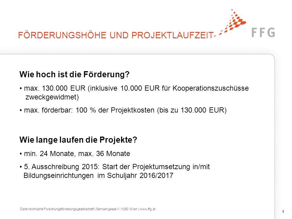 Förderungshöhe und Projektlaufzeit