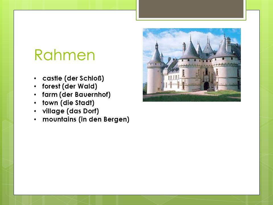 Rahmen castle (der Schloß) forest (der Wald) farm (der Bauernhof)