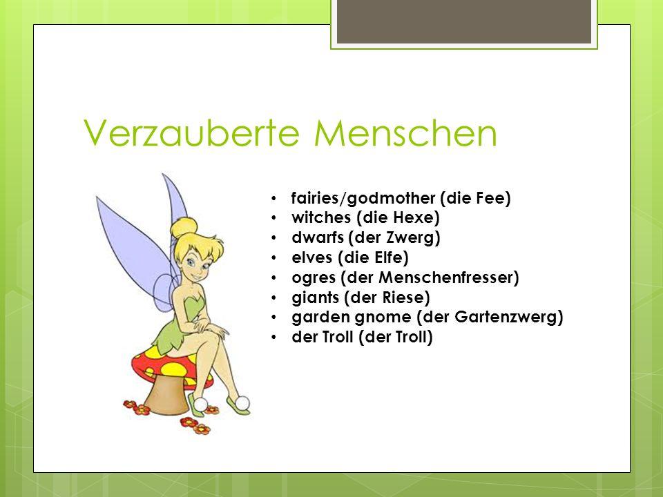 Verzauberte Menschen fairies/godmother (die Fee) witches (die Hexe)