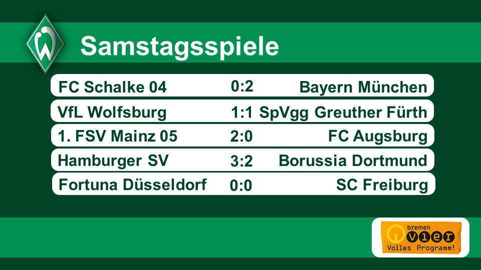 Samstagsspiele FC Schalke 04 0:2 Bayern München VfL Wolfsburg 1:1