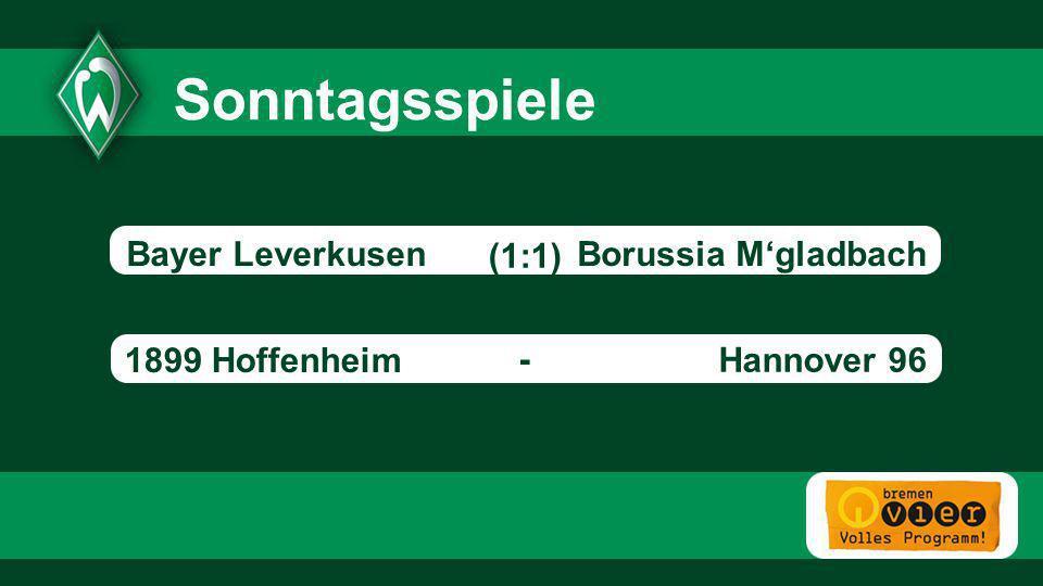 Sonntagsspiele Bayer Leverkusen Borussia M'gladbach (1:1)