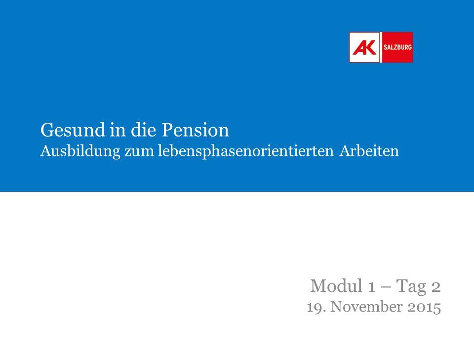 Gesund in die Pension Ausbildung zum lebensphasenorientierten Arbeiten