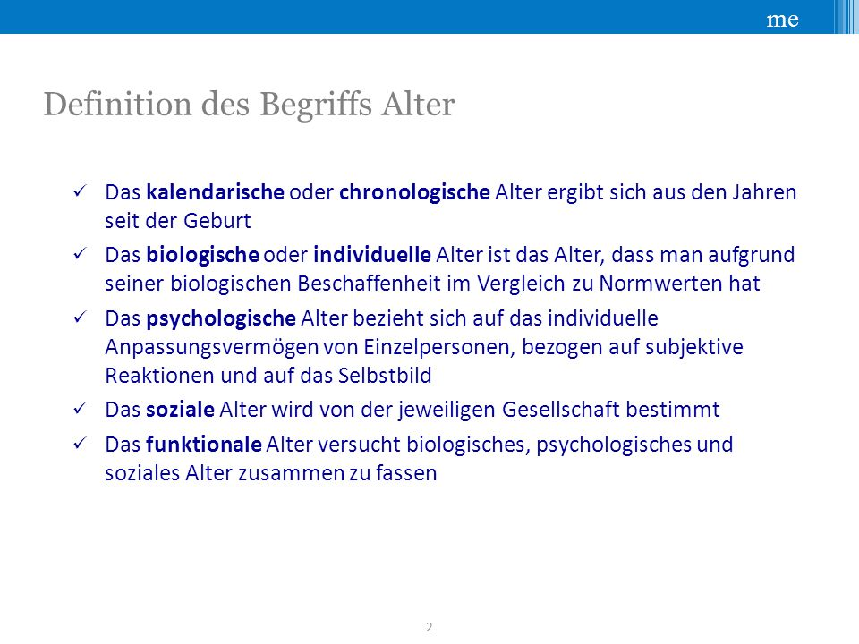 Definition des Begriffs Alter