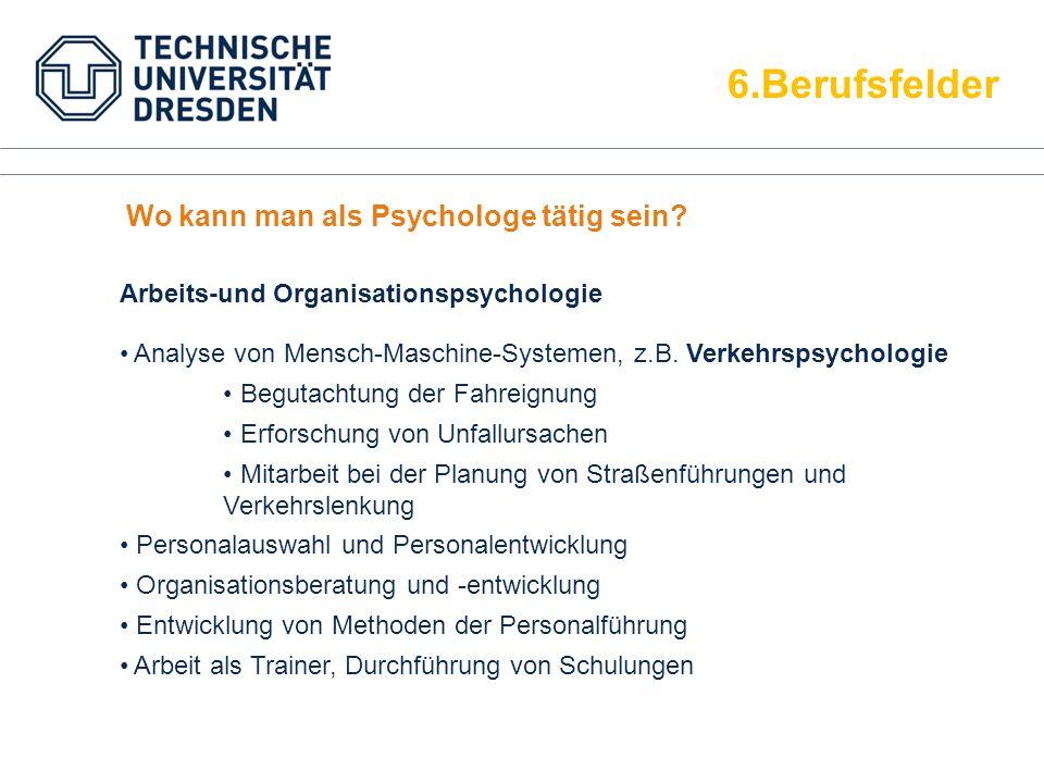 6.Berufsfelder Wo kann man als Psychologe tätig sein