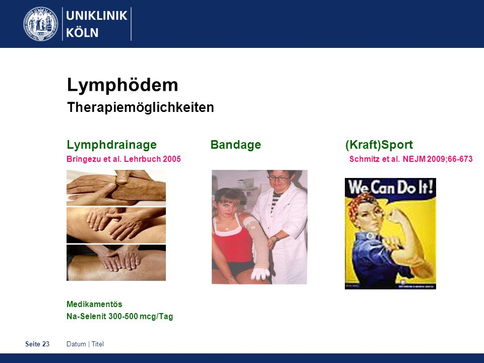Lymphödem Therapiemöglichkeiten Lymphdrainage Bandage (Kraft)Sport