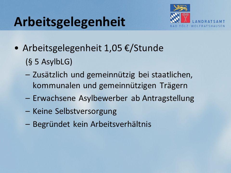 Arbeitsgelegenheit Arbeitsgelegenheit 1,05 €/Stunde (§ 5 AsylbLG)