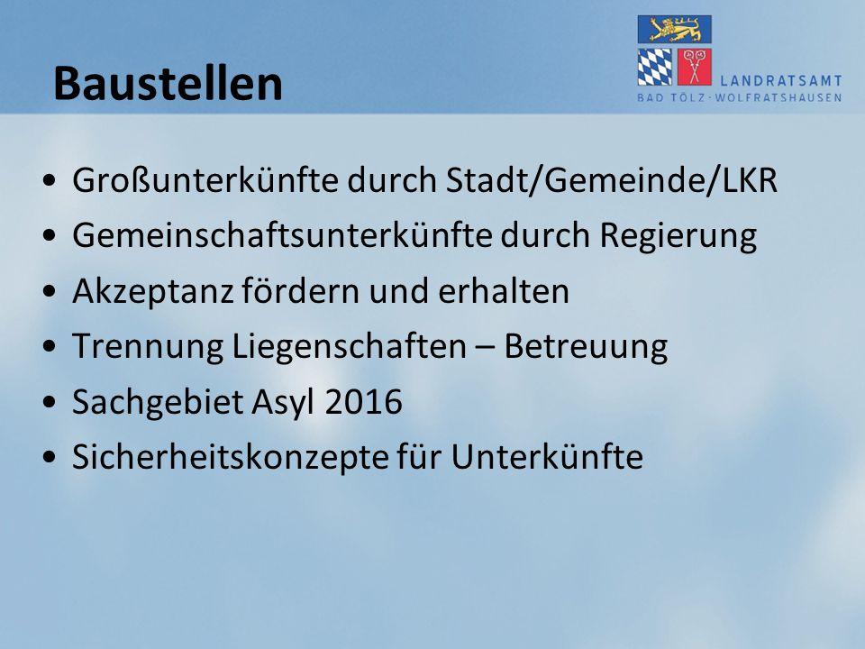 Baustellen Großunterkünfte durch Stadt/Gemeinde/LKR