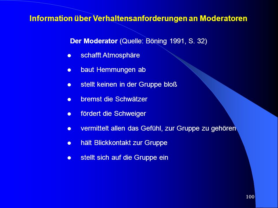 Information über Verhaltensanforderungen an Moderatoren