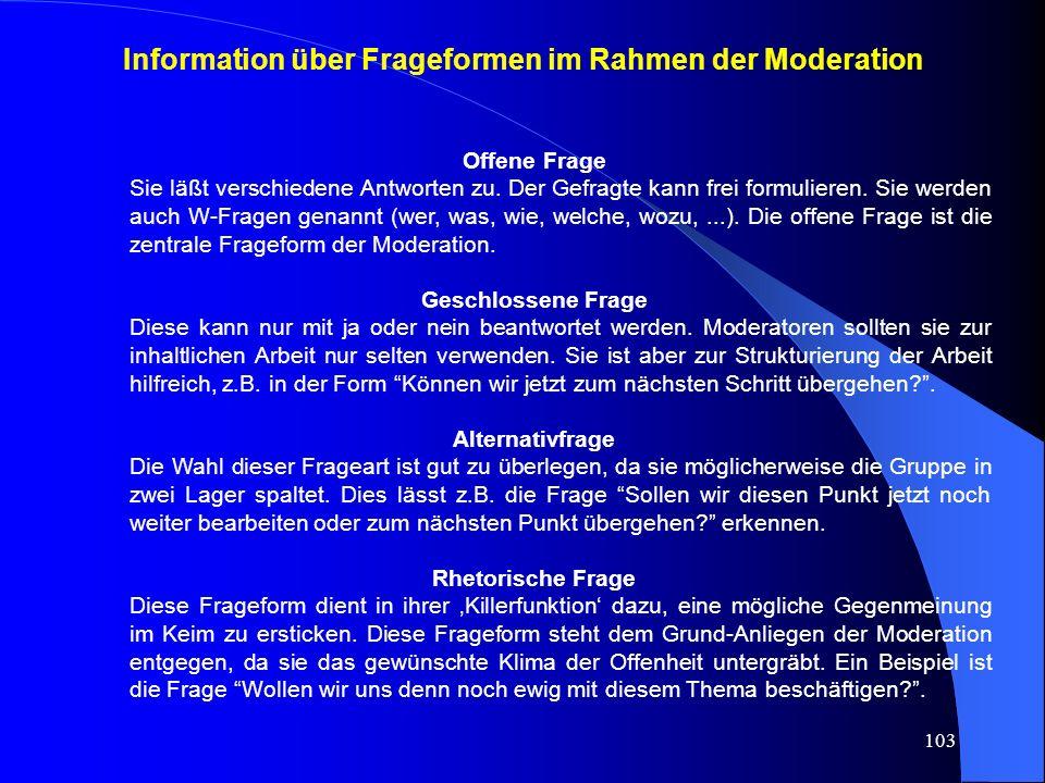 Information über Frageformen im Rahmen der Moderation