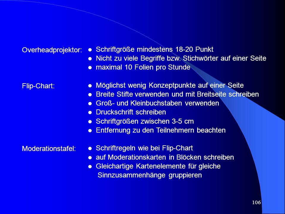 Overheadprojektor: Flip-Chart: Moderationstafel: Schriftgröße mindestens 18-20 Punkt. Nicht zu viele Begriffe bzw. Stichwörter auf einer Seite.