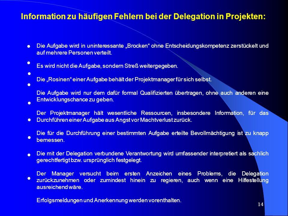 Information zu häufigen Fehlern bei der Delegation in Projekten: