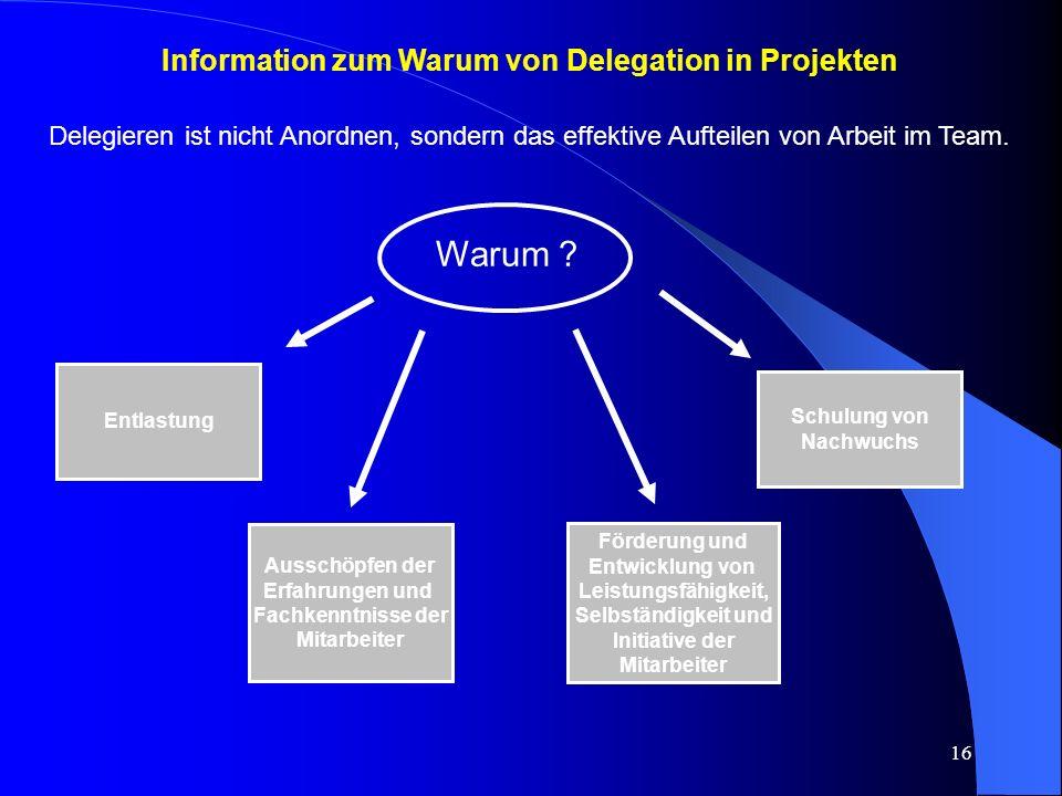 Information zum Warum von Delegation in Projekten