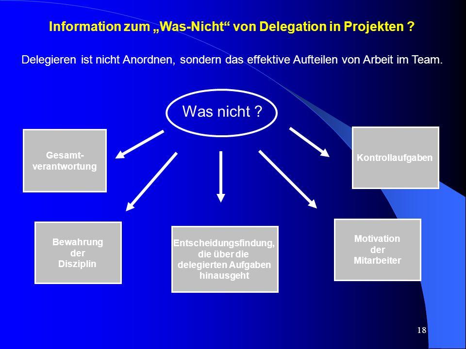"""Was nicht Information zum """"Was-Nicht von Delegation in Projekten"""